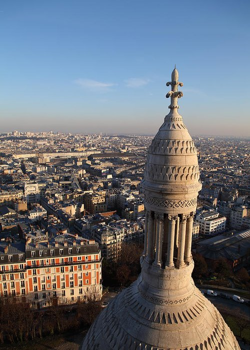 And Greeting Card featuring the photograph View From Basilica Of The Sacred Heart Of Paris - Sacre Coeur - Paris France - 011332 by DC Photographer