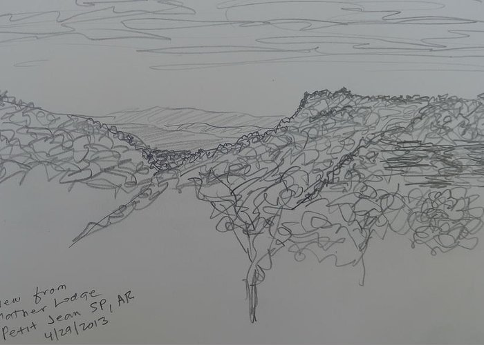 Petit Jean State Park Greeting Card featuring the drawing View From Mather Lodge by Joel Deutsch