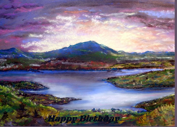 Sunrise Greeting Card featuring the pastel View From Mt Prospect by Jane Baribeau
