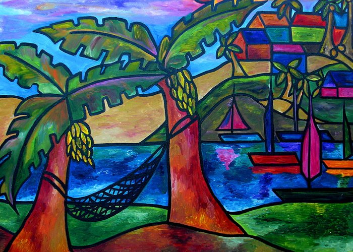 Hammock Greeting Card featuring the painting View From My Villa by Patti Schermerhorn