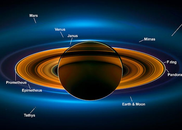 Saturn Greeting Card featuring the digital art View From Saturn By Nasa's Cassini Spacecraft by Ram Vasudev