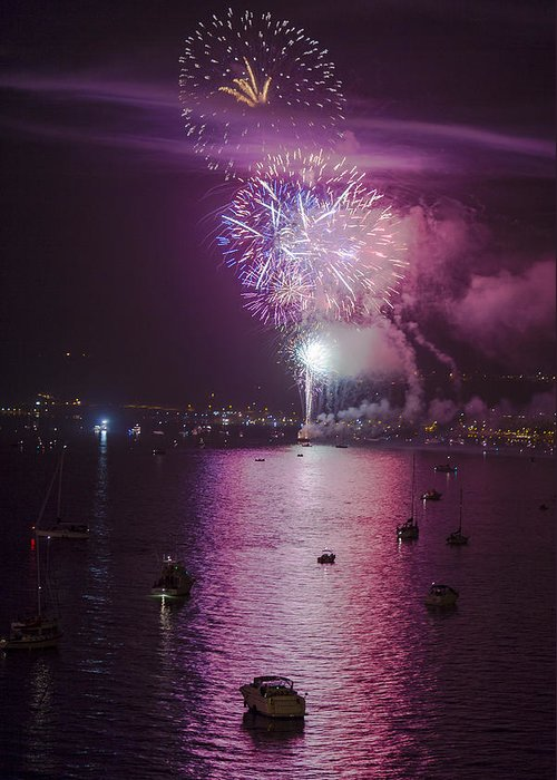 Fireworks Greeting Card featuring the photograph View From The Deck by Scott Campbell