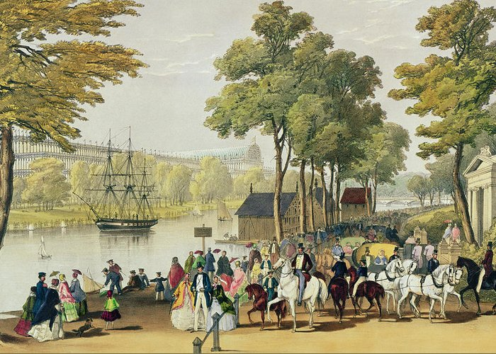 Hyde Park Greeting Card featuring the painting View From The North Bank Of The Serpentine by Philip Brannan