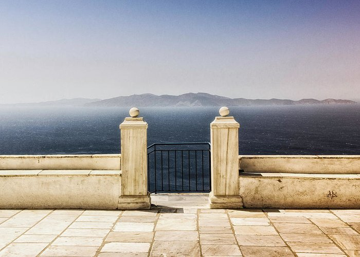 Tranquility Greeting Card featuring the photograph View From Tinos by Photography Of Beauty And Mystery