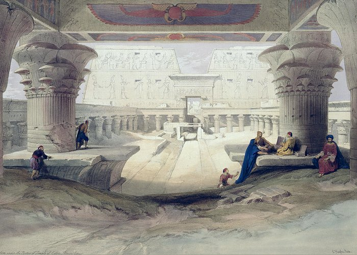 Ruins Greeting Card featuring the drawing View From Under The Portico Of Temple by David Roberts
