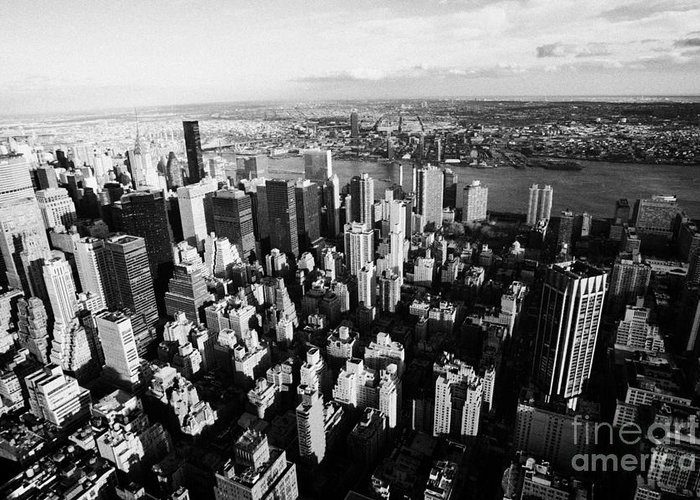 Usa Greeting Card featuring the photograph View North East Of Manhattan Queens East River From Empire State Building by Joe Fox