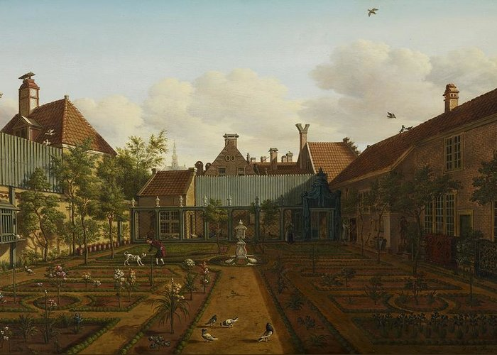 Garden Greeting Card featuring the painting View Of A Town House Garden In The Hague by Paulus Constantin La Fargue