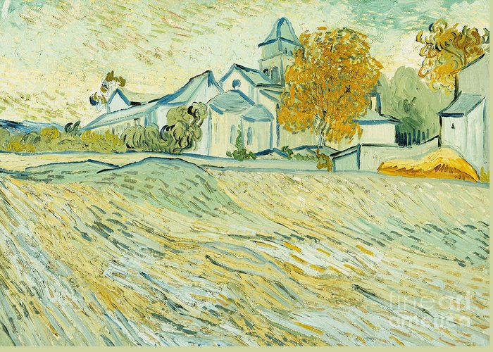Architectural; Architecture; Asylum; Building; Building Exterior; Chapel; Countryside; Daytime; Healthcare & Medicine; Hill; Hillside; Hilly; Hospital; Impressionist & Modern Art; Late 19th Century; Medical Facility; Nature; Neo-impressionist; Outdoors; Overlooking; Post Impressionism; Post Impressionist; Post-impressionism; Post-impressionist; Religion; Religion & Belief; Religious; Religious Building; Rural; Saint-remy; Scene; Scenery; Scenic; Time Of Day; Trees Greeting Card featuring the painting View Of Asylum And Saint-remy Chapel by Vincent van Gogh