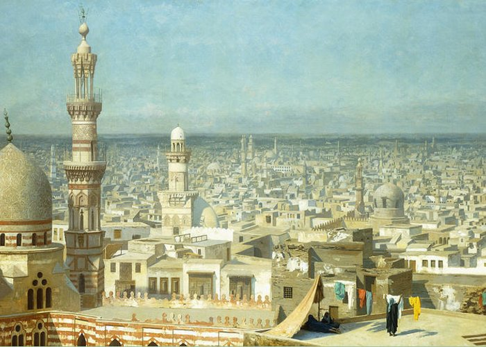 Academic Greeting Card featuring the painting View Of Cairo by Jean Leon Gerome