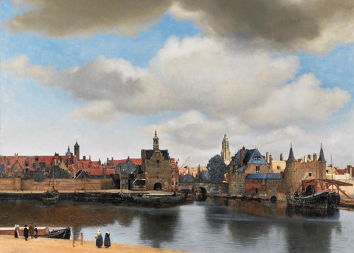 Dutch Golden Age Greeting Card featuring the painting View Of Delft by Johannes Vermeer