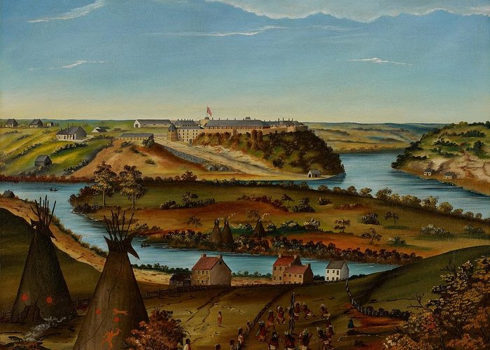 View; Panorama; Fort Snelling; Minnesota; Landscape; Teepee; Tipi; Native Americans; Colonial; Camp; Military; Mississippi; River; America; American; Usa; Naive; Red Indians; Houses; Buildings; Exterior; View; Panorama; Fort Snelling; Minnesota; Landscape; Teepee; Tipi; Native Americans; Colonial; Camp; Military; Mississippi; River; America; American; Usa; Naive; Red Indians; Houses; Buildings; Exterior; Tent Greeting Card featuring the painting View Of Fort Snelling by Edward K Thomas
