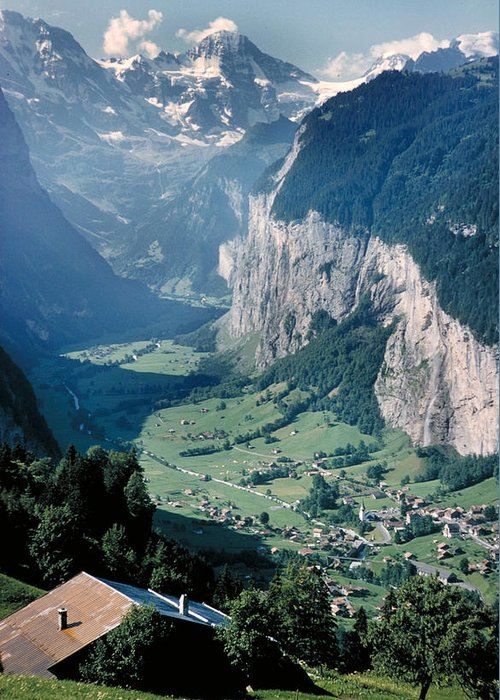 Alps Greeting Card featuring the photograph Amazing View Of Swiss Valley by Carl Purcell