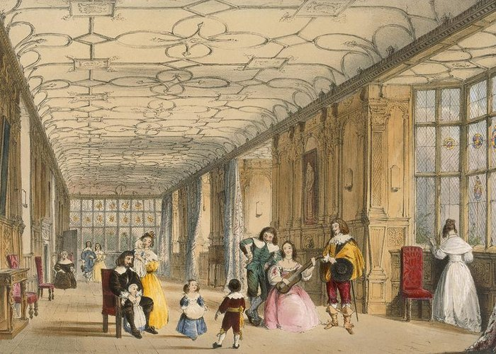 Interior Greeting Card featuring the drawing View Of Long Hall At Haddon by Joseph Nash