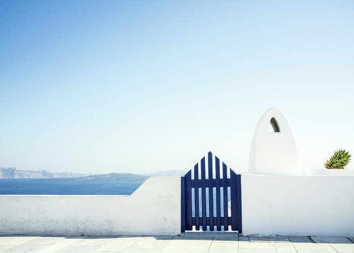 Scenics Greeting Card featuring the photograph View Of Ocean From Balcony, Greece by Gollykim
