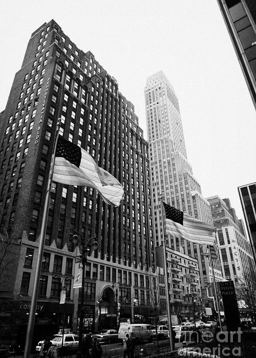 Usa Greeting Card featuring the photograph view of pennsylvania bldg nelson tower and US flags flying on 34th street new york city by Joe Fox