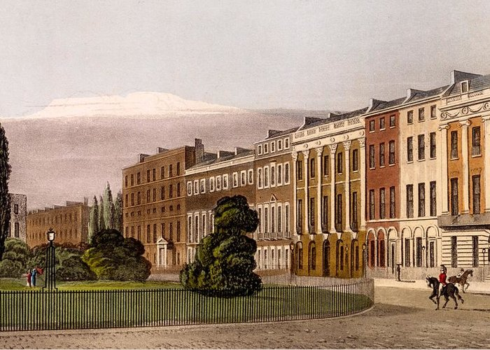 View Of Portman Square Greeting Card featuring the drawing View Of Portman Square, North Side, 1816 by Rudolph Ackerman