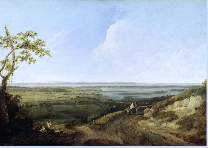 English Landscape Greeting Card featuring the painting View Of Portsmouth From Portsdown Hill by Thomas Jones