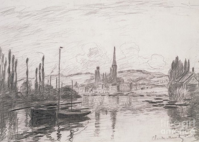French Greeting Card featuring the drawing View Of Rouen by Claude Monet