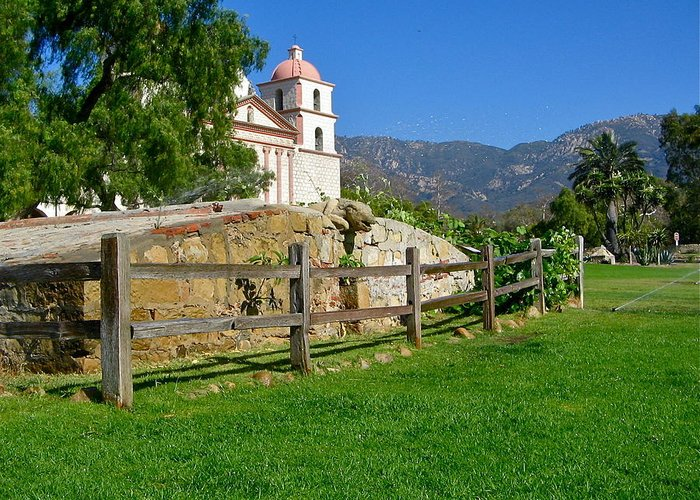 Mission Greeting Card featuring the photograph View Of Santa Barbara Mission by Denise Mazzocco