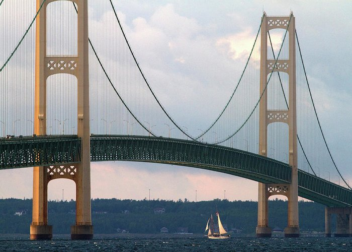 America Greeting Card featuring the photograph View Of The Mackinac Bridge Connecting by David R. Frazier
