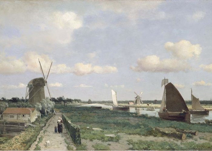 Hague School Greeting Card featuring the painting View Of The Trekvliet Canal Near The by Johannes Hendrik Weissenbruch