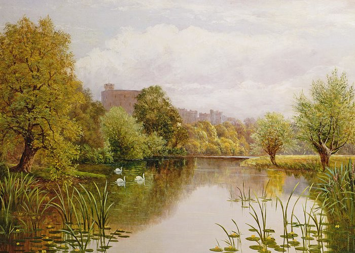 Swan Greeting Card featuring the painting View Of Windsor From The Thames by John Atkinson
