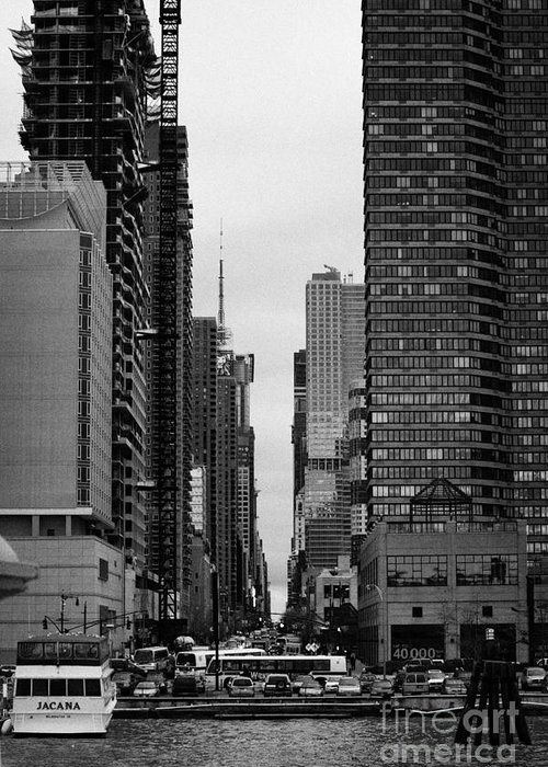 Usa Greeting Card featuring the photograph View Up West 42nd Street From The Hudson River New York City by Joe Fox