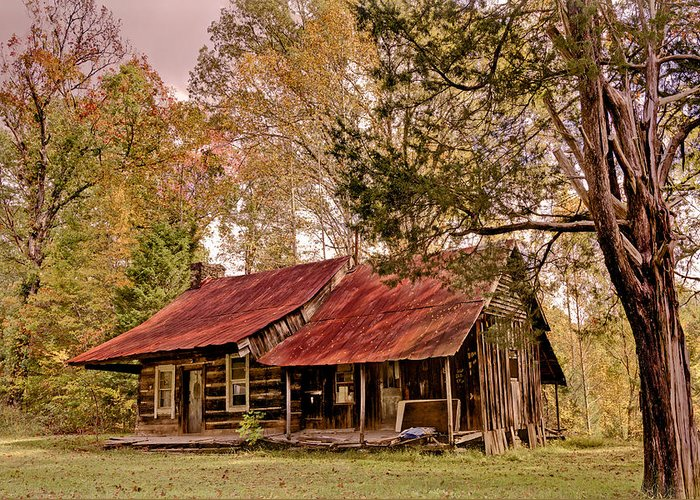 Appalachia Greeting Card featuring the photograph Viintage Cabin by Debra and Dave Vanderlaan