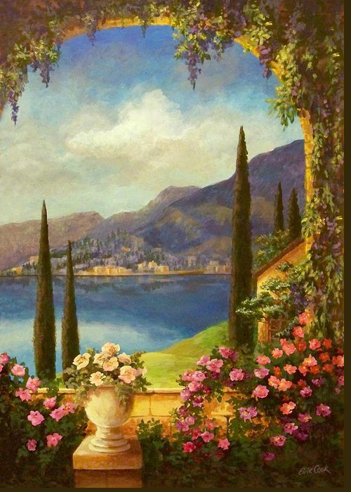 Tuscan Greeting Card featuring the painting Villa Rosa by Evie Cook
