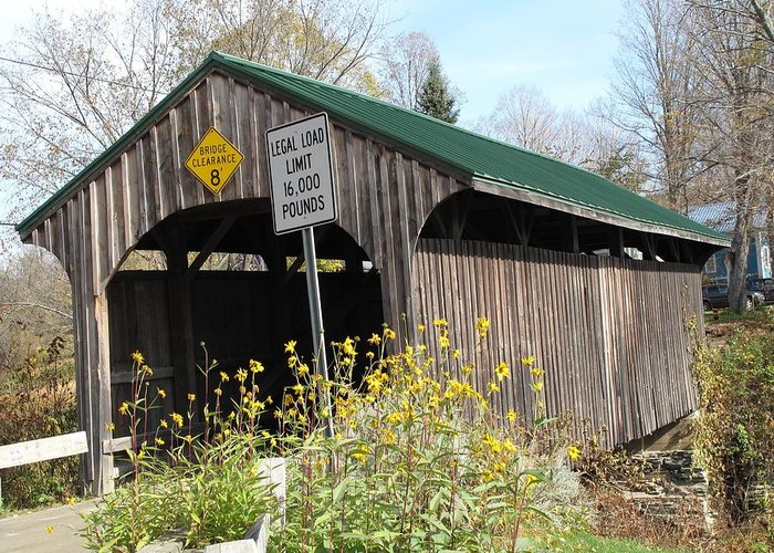 Covered Bridge Greeting Card featuring the photograph Village Bridge Waterville Vermont by Barbara McDevitt