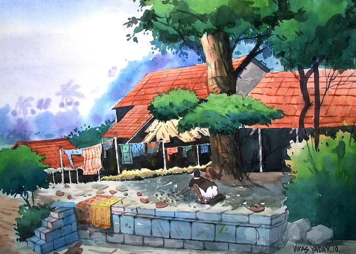 Landscape Greeting Card featuring the painting Village House by Vikas Yadav