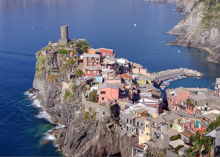 Ancient Greeting Card featuring the photograph village of Vernazza by Ioan Panaite
