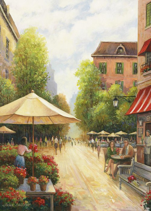 John Greeting Card featuring the painting Village Scene by John Zaccheo
