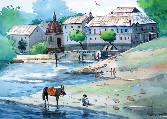 Landscape Greeting Card featuring the painting Village by Vikas Yadav