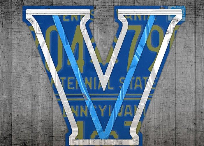 Villanova Greeting Card featuring the mixed media Villanova Wildcats College Sports Team Retro Vintage Recycled Pennsylvania License Plate Art by Design Turnpike