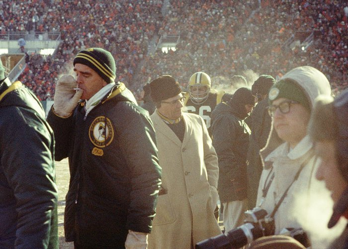 Marvin Newman Greeting Card featuring the photograph Vince Lombardi On The Sideline by Retro Images Archive