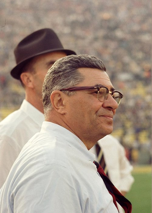 Marvin Newman Greeting Card featuring the photograph Vince Lombardi Surveying The Field by Retro Images Archive