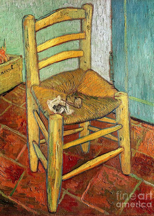 Impressionist Greeting Card featuring the painting Vincent's Chair 1888 by Vincent van Gogh