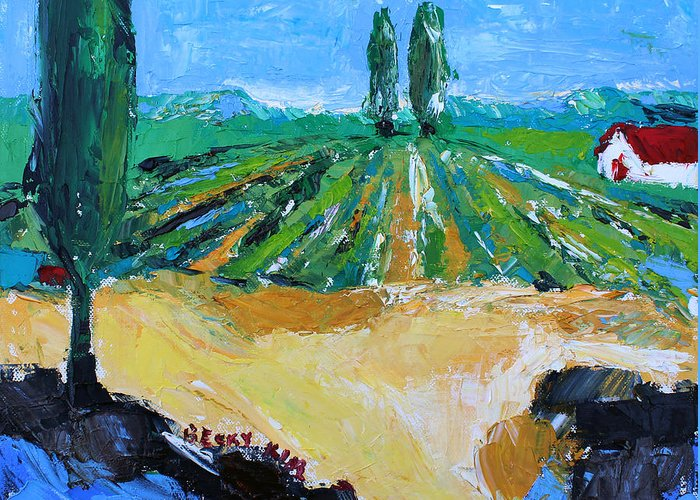 Landscape Greeting Card featuring the painting Vineyard 3 by Becky Kim