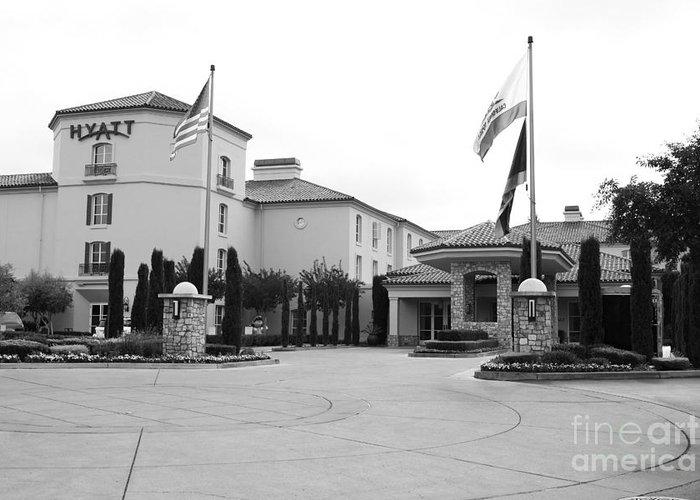 Santa Rosa Greeting Card featuring the photograph Vineyard Creek Hyatt Hotel Santa Rosa California 5d25787 Bw by Wingsdomain Art and Photography