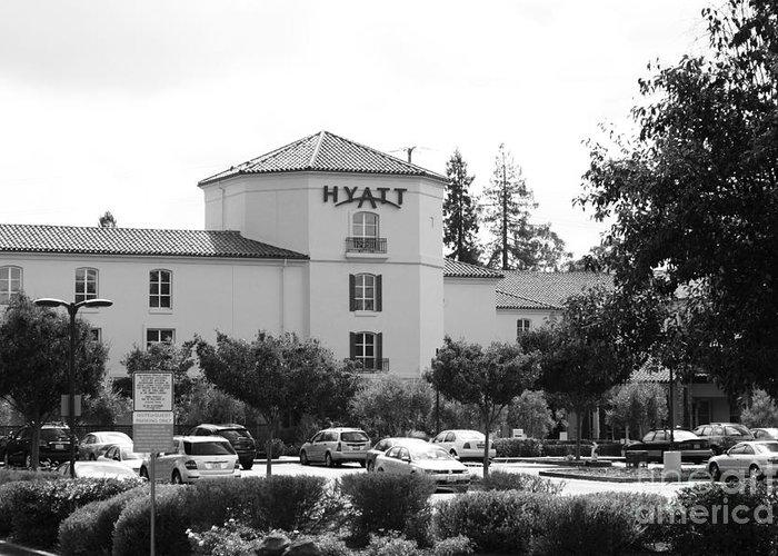 Santa Rosa Greeting Card featuring the photograph Vineyard Creek Hyatt Hotel Santa Rosa California 5d25866 Bw by Wingsdomain Art and Photography