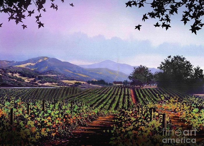 Vineyard Greeting Card featuring the painting Vineyard Napa Sonoma by Robert Foster