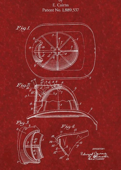 Cairns Greeting Card featuring the photograph Vintage 1932 Firemans Helmet Patent by Doc Braham