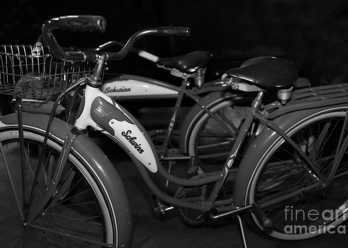 Transportation Greeting Card featuring the photograph Vintage 1941 Boys And 1946 Girls Bicycle 5d25760 Black And White by Wingsdomain Art and Photography