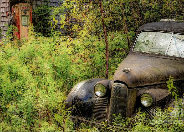 Cars Greeting Card featuring the photograph Vintage Abandoned LaSalle by Brenda Giasson