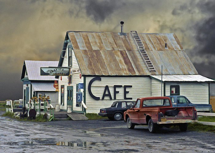 Alaska Greeting Card featuring the photograph Vintage Alaska Cafe by Ron Day