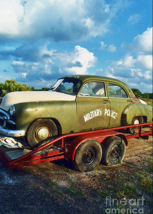 Military Police Car Greeting Card featuring the photograph Vintage American Military Police Car by Kathy Fornal