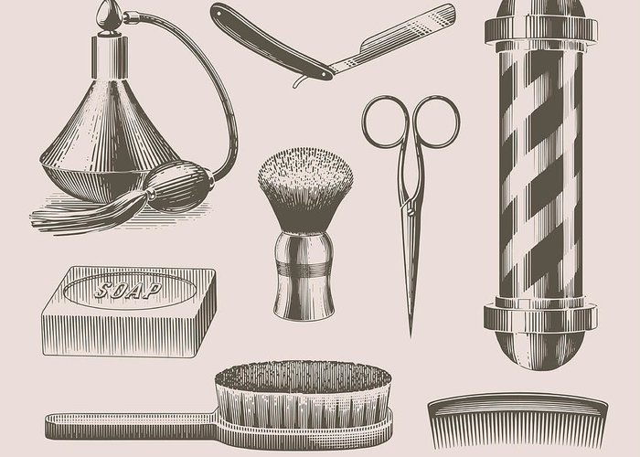 English Culture Greeting Card featuring the digital art Vintage Barbershop Objects by Darumo