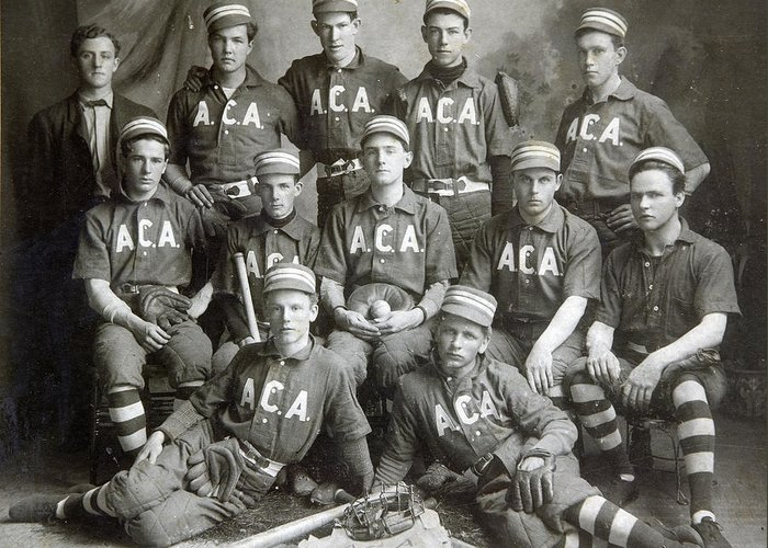 Baseball Greeting Card featuring the photograph Vintage Baseball Team by Russell Shively
