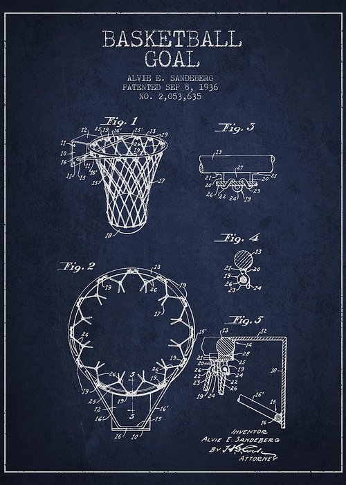 Hoop Patent Greeting Card featuring the digital art Vintage Basketball Goal Patent From 1936 by Aged Pixel